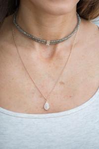 Choker & Pendant Layered Necklace - Olive/Gold