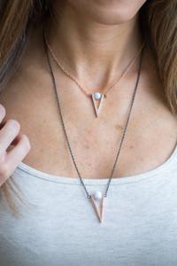 V Layered Necklace - Rose Gold/Black