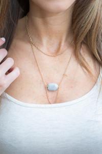 Stone Pendant Layered Necklace - Gold