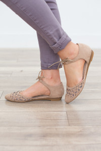 Wild Flower Lace Front Flats - Taupe