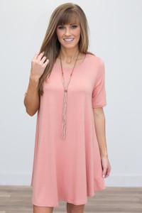 Half Sleeve T-Shirt Dress - Peach - FINAL SALE