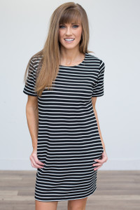 Striped Shift Dress - Black/White - FINAL SALE