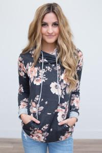 Floral Print Hooded Sweatshirt - Charcoal/Peach
