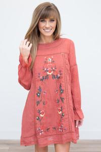 Boho Embroidered Dress - Cherry Tomato - FINAL SALE