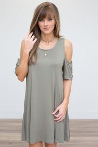 Lace Up Sleeve Cold Shoulder Dress - Olive - FINAL SALE