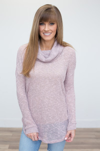 Lightweight Cowl Neck Tunic - Dusty Pink - FINAL SALE