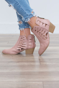 Triangle Cutout Booties - Blush - FINAL SALE