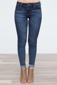 Mid Rise Whiskered Skinny Jeans - Dark Wash - FINAL SALE