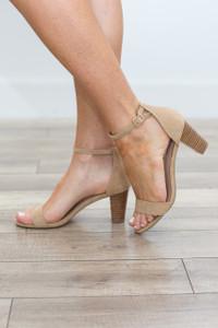 Faux Suede Simple Strap Heel - Tan