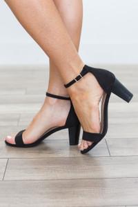 Faux Suede Simple Strap Heel - Black