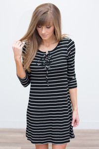 Lace Up Striped Dress - Black/White - FINAL SALE