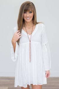Lace Detail Babydoll Dress - Off White - FINAL SALE