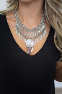 Medallion Statement Necklace - Silver