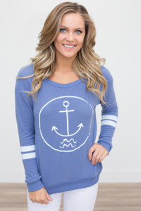 Vintage Havana Anchor Pullover - Light Blue - FINAL SALE