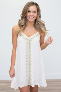 Beaded Tassel Tie Back Tunic Dress - Ivory - FINAL SALE