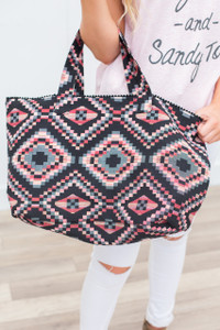 Southwest Print Tote Bag - Black/Coral