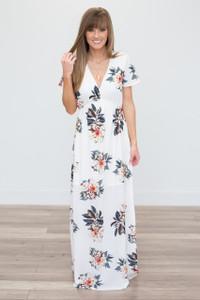 Maui Floral Print Maxi Dress - Ivory