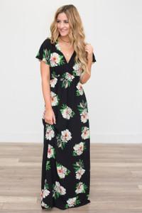Maui Floral Print Maxi Dress - Black