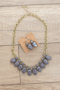 Sparkle Stone Statement Necklace - Midnight Purple - FINAL SALE