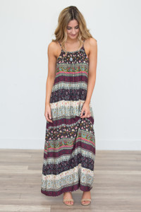 Tie Back Printed Maxi Dress - Multi