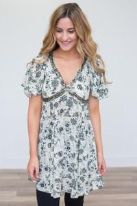 Sequin Detail Printed Tunic Dress - Ivory - FINAL SALE