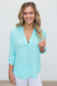 Solid V Neck Roll Tab Blouse - Aqua