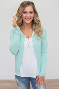 Basic Button Down Cardigan - Mint - FINAL SALE