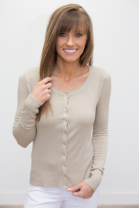 Basic Button Down Cardigan - Taupe - FINAL SALE