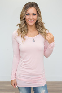 Long Sleeve Ruched Knit Tunic - Soft Pink - FINAL SALE