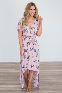 High-Low Floral Wrap Maxi Dress - Dusty Pink
