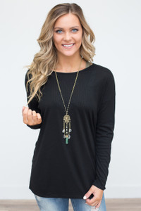 Wrap Back Ribbed Tunic - Black