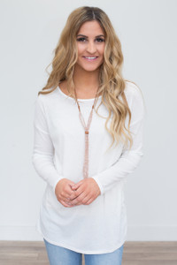 Wrap Back Ribbed Tunic - Off White - FINAL SALE