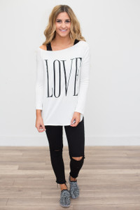 Off the Shoulder Love Tee - Off White