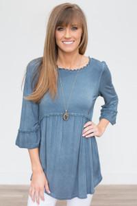 3/4 Sleeve Babydoll Tunic - Dusty Blue