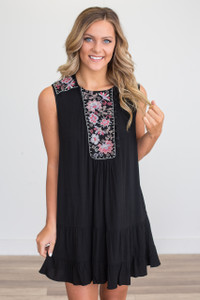 Embroidered Sleeveless Ruffle Hem Dress - Black - FINAL SALE