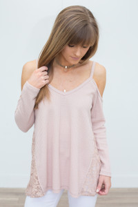 Side Lace Cold Shoulder Waffle Knit - Dusty Rose - FINAL SALE