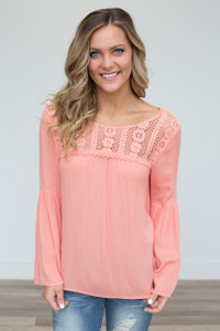 Lace Up Back Angel Sleeve Blouse - Peach - FINAL SALE