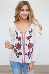 Rose Embroidered Peasant Blouse - Ivory - FINAL SALE