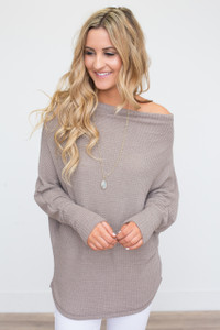 Off the Shoulder Waffle Knit Top - Mocha