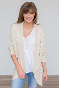 Open Knit Cardigan - Oatmeal - FINAL SALE