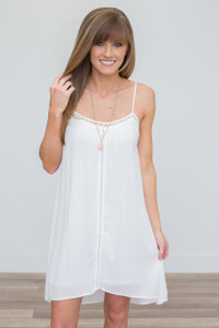 Crochet Detail Slip Dress - Off White - FINAL SALE