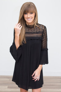 Lace Top Bell Sleeve Dress - Black