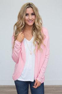 Solid Open Cardigan - Pink