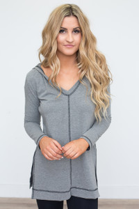 Contrast Stitch Hooded Tunic - Grey