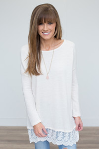 Lace Trim Dolman Sleeve Tunic - Ivory - FINAL SALE