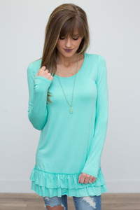Nightcap Ruffle Hem Tunic - Mint - FINAL SALE
