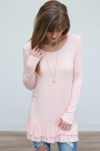Nightcap Ruffle Hem Tunic - Soft Pink