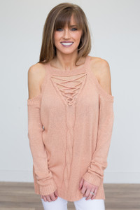 Lace Up Cold Shoulder Sweater - Salmon