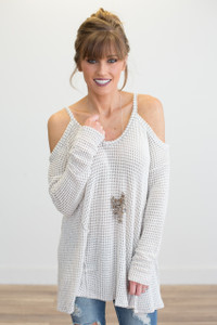 Cold Shoulder Open Knit Top - Ivory