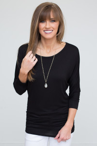 3/4 Sleeve Knit Dolman Tunic - Black